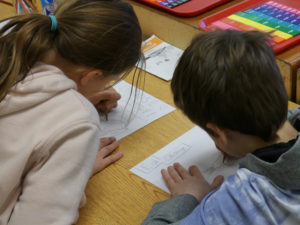 As leaders of the school, students in the fourth and fifth grades create healthy leaders posters.