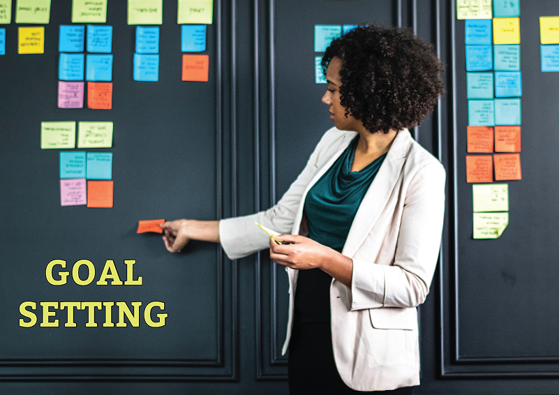Goal Setting: Woman places multi-colored post-it notes on a visioning wall