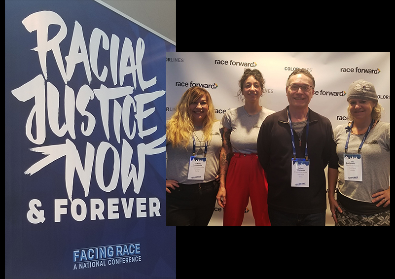 Solid Ground staff members attend the Facing Race 2018 Conference in Detroit (l to r): Tiffany Lamoreaux, Jordan Billiot, Arturo Velasquez & Liz Reed Hawk