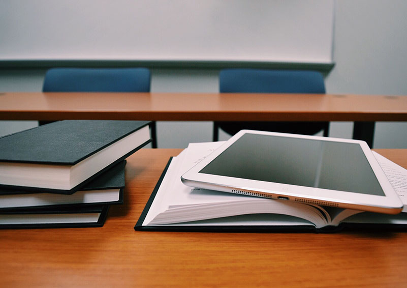 Classroom: books & tablet