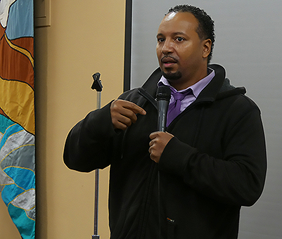 Steering Committee member Dante Pollard speaks about his involvement with the PRWG at Poverty Action's 2019 MLK Day Lobby Day in Olympia, WA (photo by Jalayna Carter)