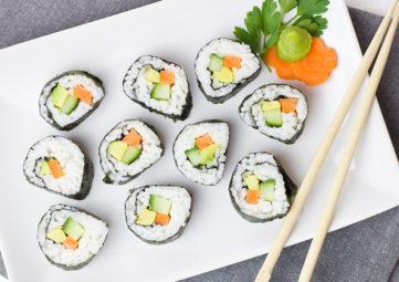 sushi rolls & chopsticks
