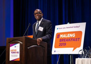 Gordon McHenry, Jr. giving his acceptance speech at the Norm Maleng award breakfast.