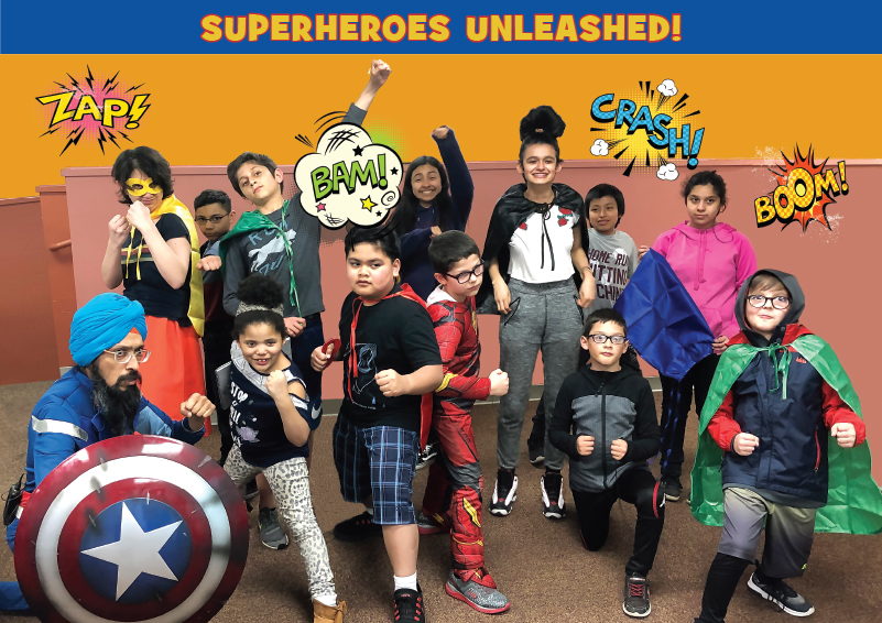 Vishavjit Singh, the Sikh Captain America, poses with cartoon artists from Sand Point Housing, unleashing their inner superheroes!