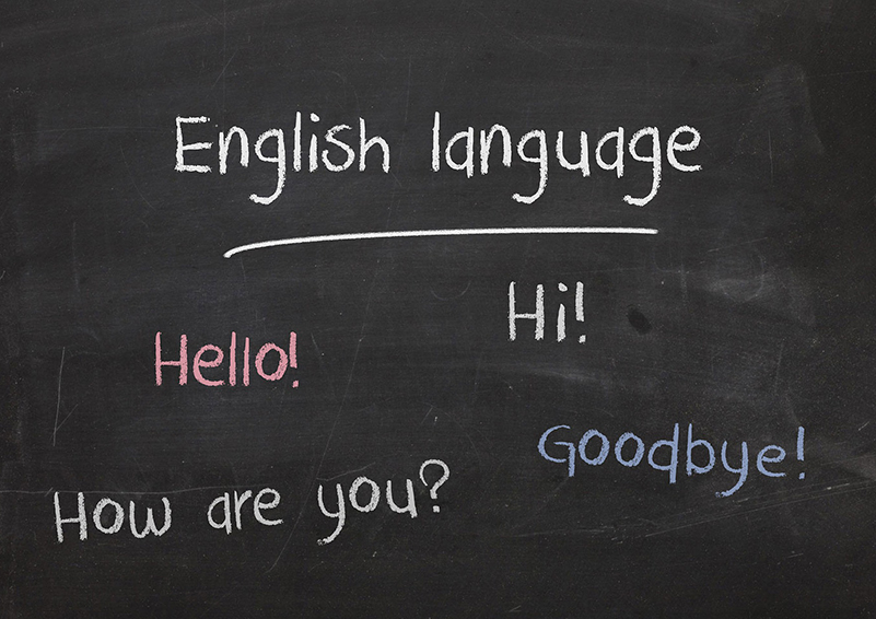 Blackboard with the words: English language, Hello! Hi! How are you? Goodbye?