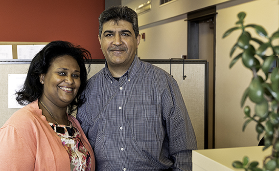 Hanna Asfaw & Nazim Haji, Solid Ground Finance/IT teammates (photo by Chris Villiers)