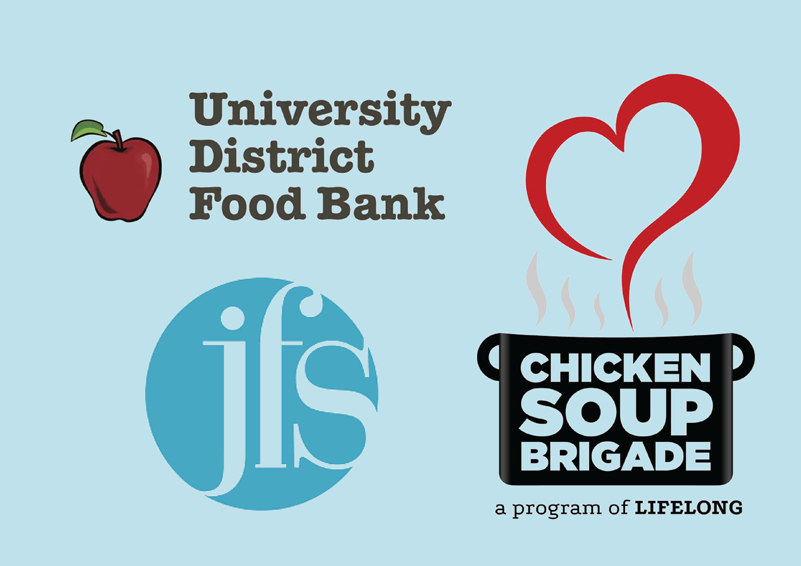 Image showing the logos for Jewish Family Services, University District Food Bank, and Chicken Soup Brigade