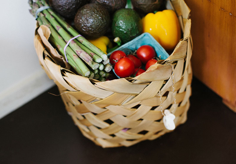 Stock image of groceries in a basket