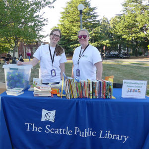Librarians Robin Rousu & Kelsey Cameron with The Seattle Public Library's Mobile Services