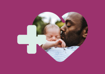 image/graphic of a father kissing his infant from the WA state Paid Family & Medical Leave website