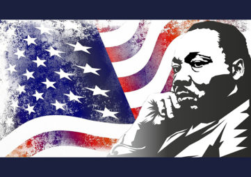 Artistic graphic of MLK with a waving American flag