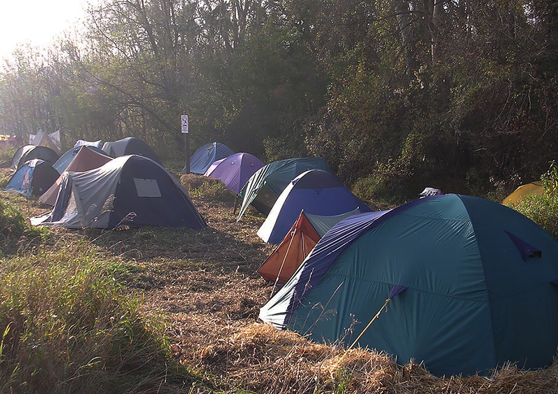 A tent encampment in late afternoon Seattle light