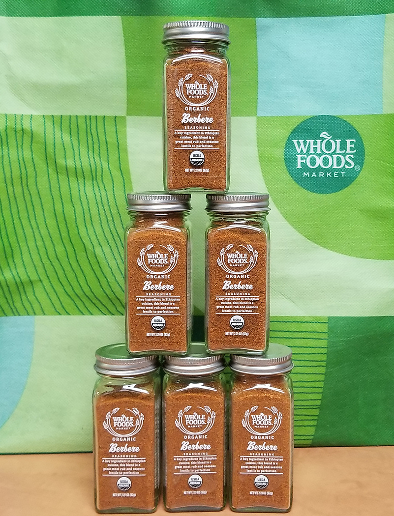 Berbere Spice jars generously donated by Whole Foods Market