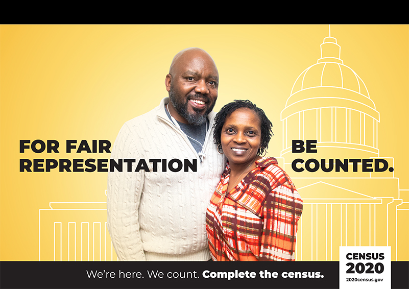 """US Census poster picturing an African-American couple w/ the text: """"For fair representation, be counted."""""""