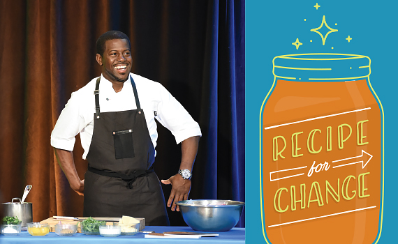 Chef Edouardo Jordan smiles from the set of our Virtual Recipe for Change LunchIN