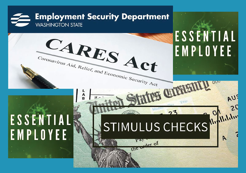 Collage of word images: Employment Security, Essential Employee, CARES Act & Stimulus Checks