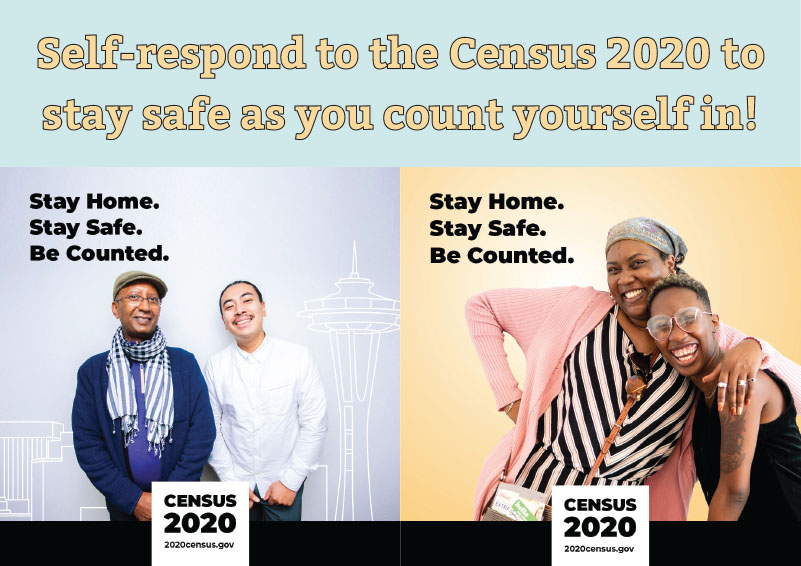 Graphic encouraging people to stay home, stay safe, and self-respond to the Census 2020.