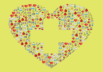 Graphic of a heart with healthcare symbols on a yellow background