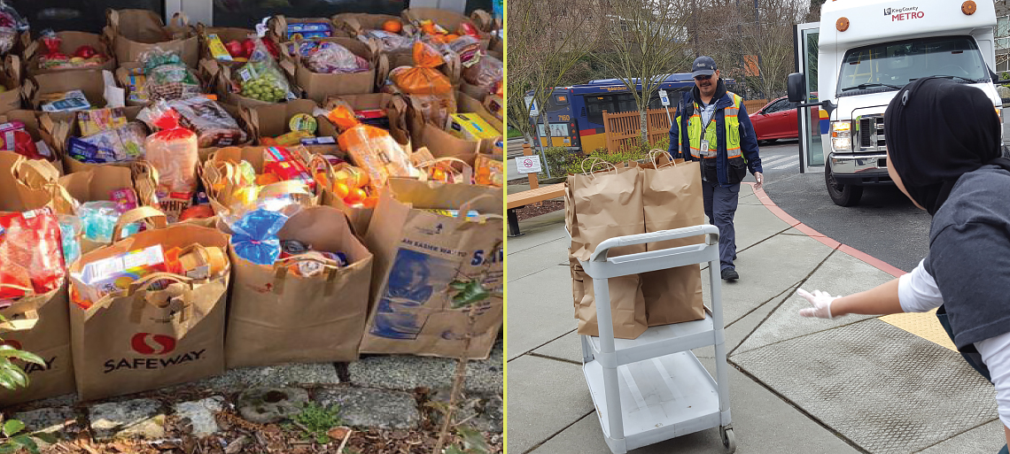 Pictures of full grocery bags and a Solid Ground Transportation driver delivering food bags