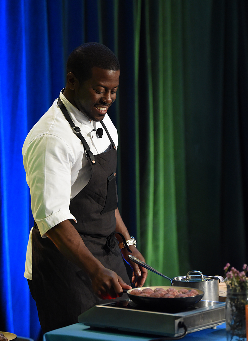 Chef Edouardo Jordan cooking up some meatballs at the Lunch-IN live show.