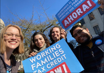 Staff from the Washington State Budget & Policy Center and the Statewide Poverty Action Center at a rally in support of the Working Families Tax Credit in Olympia in February