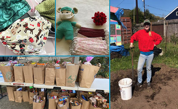 Collage of colorful masks, outdoor pickup food bags, & a volunteer gardening