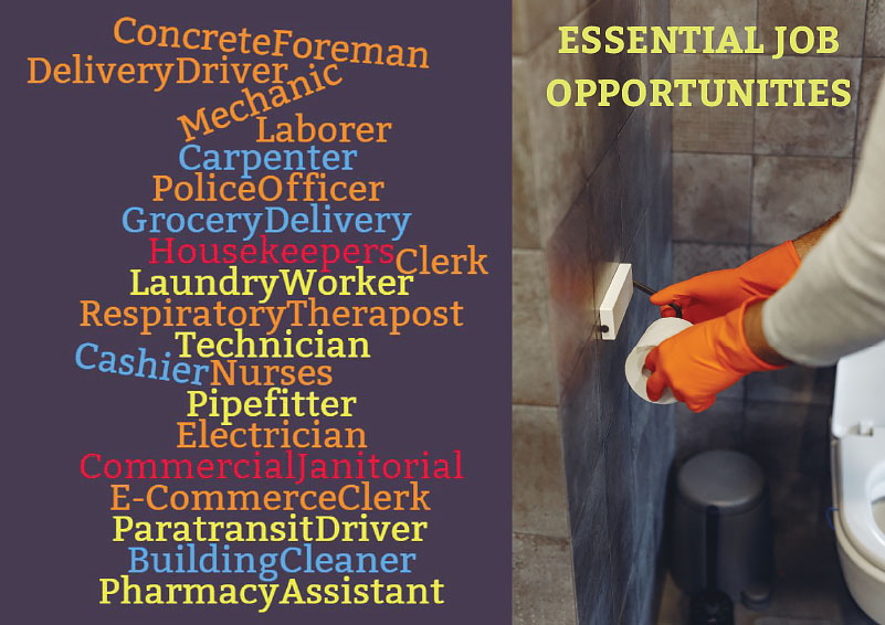 Word cloud of essential worker job opportunities with a photo of a cleaner in orange gloves replacing toilet paper