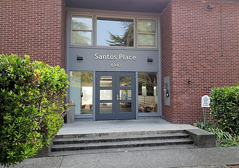 Front door of Santos Place