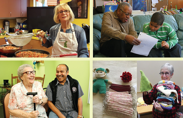Collage of 55+ volunteer activities: A woman in an apron teaching a cooking class, a man tutoring a young boy, a man visiting with an elderly woman in her home, a woman holding a stack of knitted items for donation, and a pile of homemade face masks