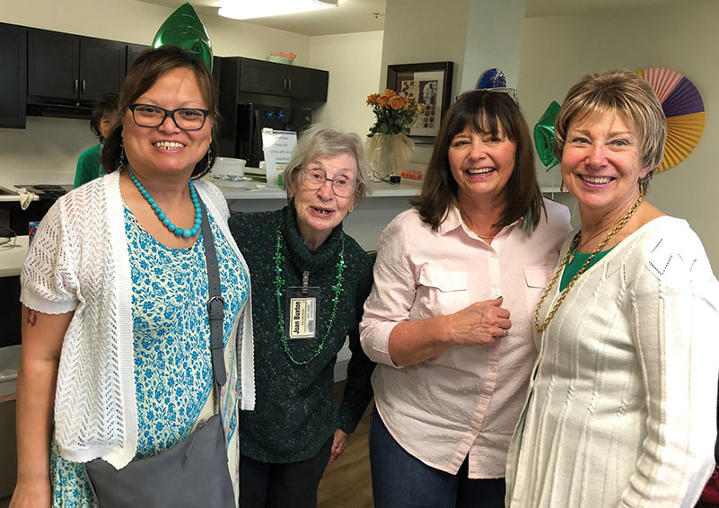 A fun Volunteer meetup at Northshore Senior Center-Mill Creek location with four volunteers pictured