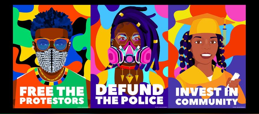 "Three side-by-side images with bright colors in the background. First image says ""Free The Protestors"" and features a Black person with a mask and sunglasses and short hair. The second image says ""Defund the Police"" and features a Black person with gold rimmed glasses, and a bright pink mask. The third image features a Black child in a gold cap and gown, holding a diploma, and says ""Invest in Community."""
