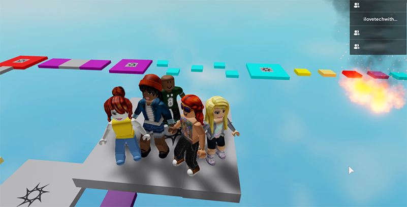 Screenshot of five video game youth characters standing on a grey platform in the middle of a blue sky, with purple, yellow, and teal stepping stones floating in the sky