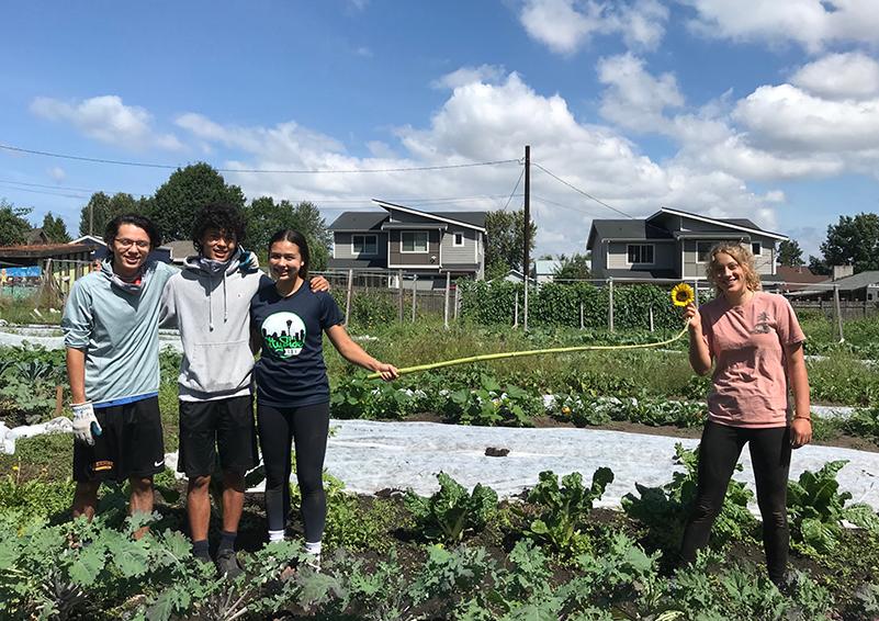Four volunteers at the Marra Farm Giving Garden.