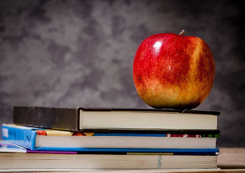 Stack of 3 textbooks on a table withe a red apple sitting on top, in front of a grey background