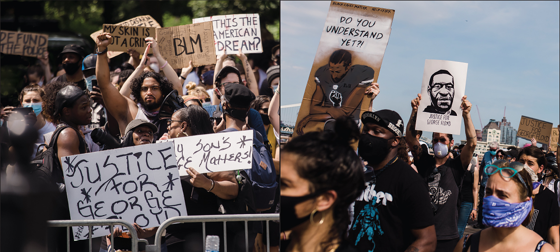 Side-by-side images of two different Black Lives Matter/Justice for George Floyd protests, people wearing masks, holding signs