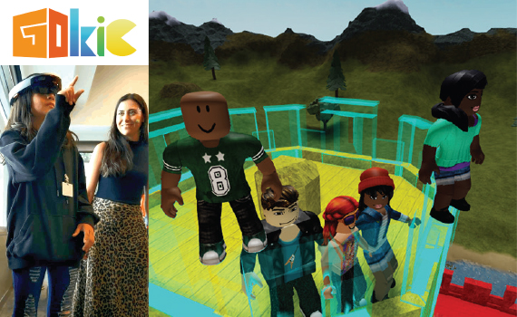 Collage of the colorful GOKiC logo above a girl wearing virtual reality googles while her woman mentor smiles, and a screenshot of a virtual world with 5 Roblox figures standing on a castle rooftop
