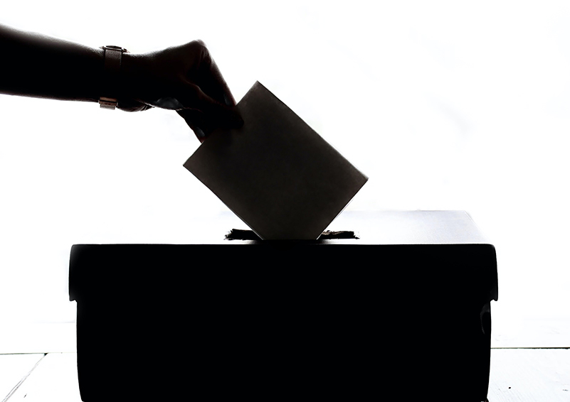 Black & white silhouette of a woman's braceleted hand dropping a ballot into a voting box.