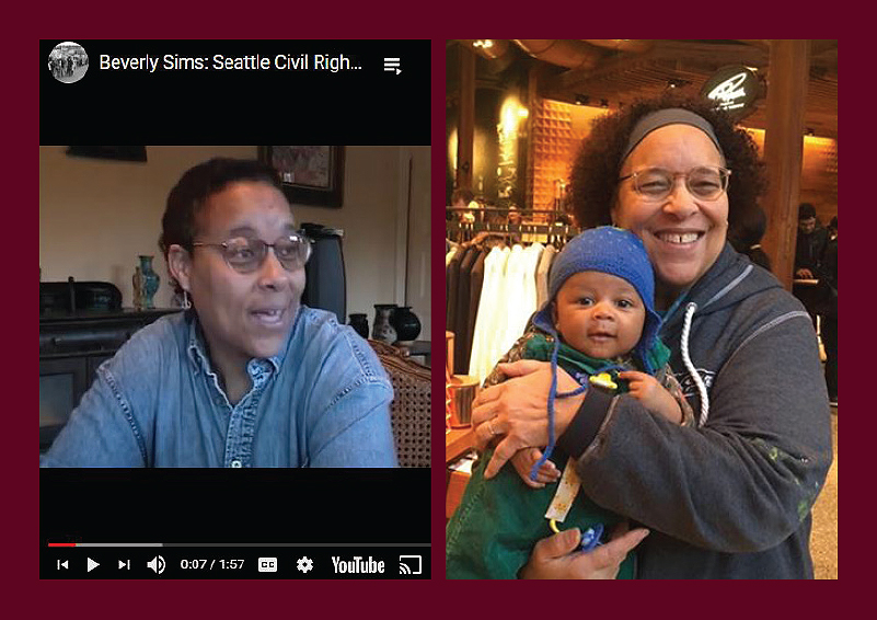 Memorial collage of Seattle labor rights icon Bev Sim, left side screenshot of a video interview, right side Bev holding her baby grandson