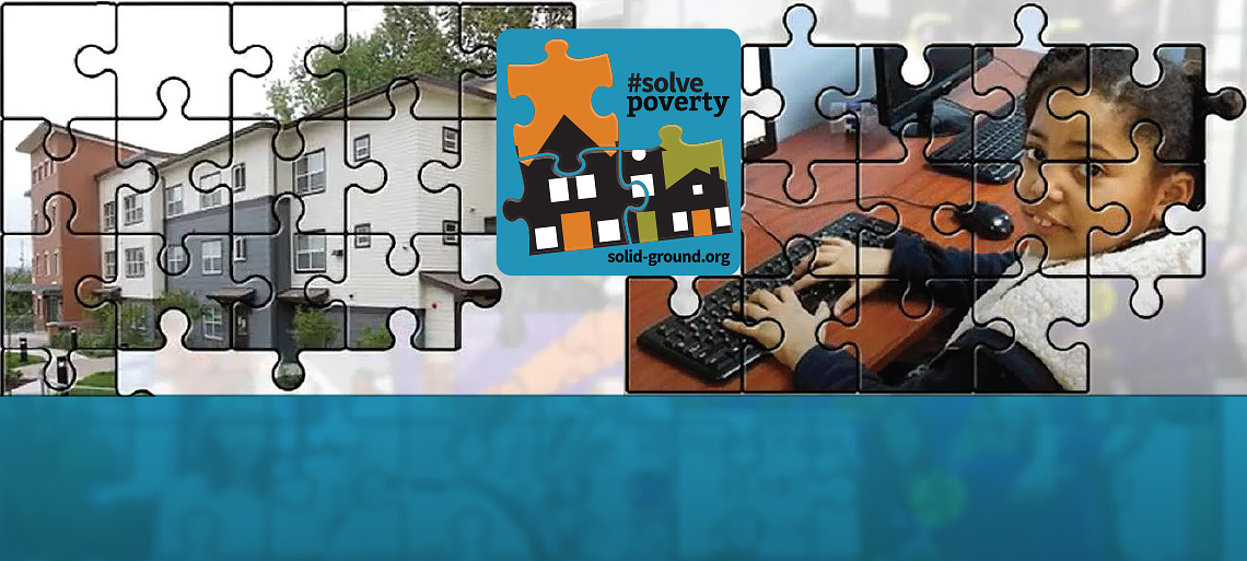 Graphic with a jigsaw puzzle overlay, with an image of housing on the left side, a young girl at a keyboard on the right side, and