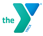 the YMCA logo, aqua and blue