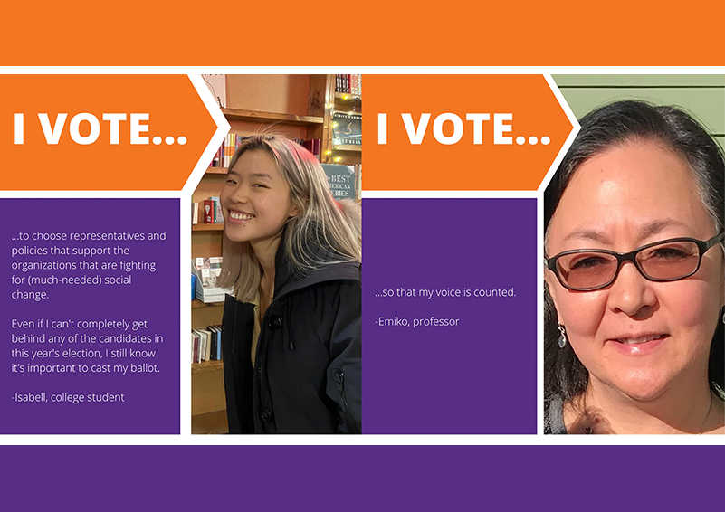 "Poverty Action 2020 Voter Guide cover , orange and purple, with quotes from individuals pictured speaking to ""WHY I VOTE..."""