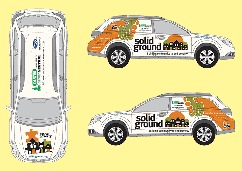 Mockup designs of three Subaru Outlook cars with Solid Ground and Carter Subaru logos on a pale yellow background
