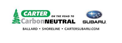Black and green Carter Subaru logo with evergreen tree and On the Road to CarbonNeutral tagline, BALLARD-SHORELINE-CARTERSUBARU