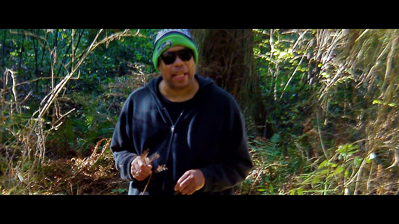 Video still of a man in the woods, looking at the camera, wearing a Seahawks cap, navy hoodie, and dark sunglasses.