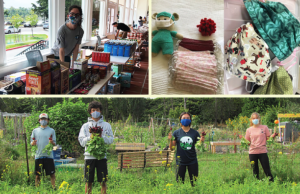 Collage: Woman wearing mask in a food pantry, DIY multi-colored facemasks, and pic of 4 teens wearing masks and spaced out holding veggies they just harvested at a farm