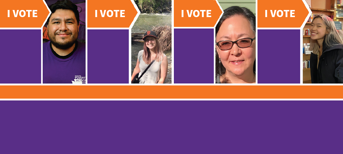 Bright orange and purple graphic with photos of 3 women and 1 man with the text I VOTE.