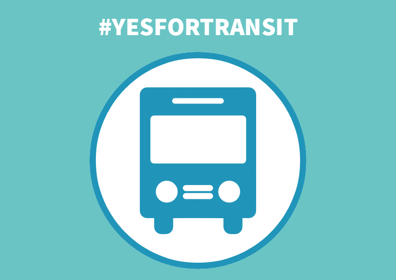 #YESFORTRANSIT graphic with white text on a teal background with a blue round bus icon
