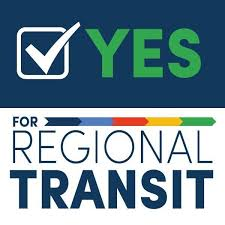 Square YES FOR REGIONAL TRANSIT logo with blue & green text, with a white checkbox