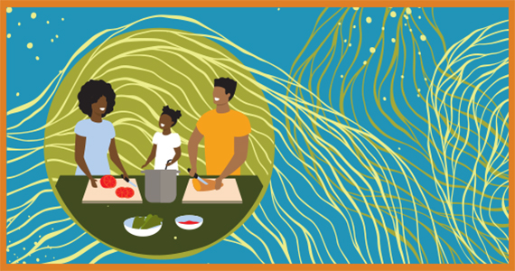 Circular graphic of a Black family of 3 over a bright blue background, with pale yellow and olive green swooshes and splashes behind them