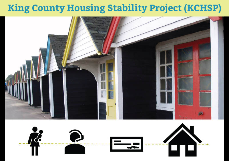 Colorful row of small houses with the text King County Housing Stability Project (KCHSP) above it, and black icons depicting the journey to housing below
